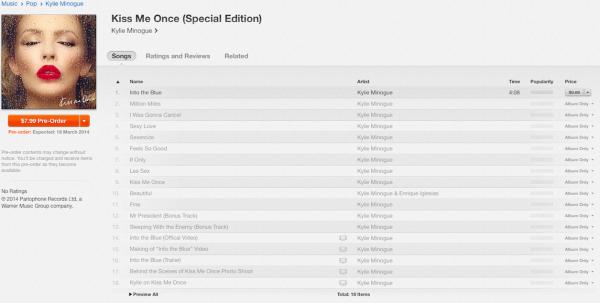 Kiss Me Once Tracklist