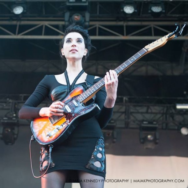 Saint Vincent proves she can play guitar as well as she sings...  PHOTO: MAIA KENNEDY