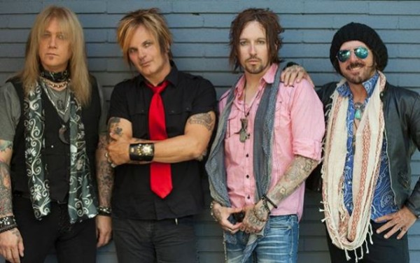 DEVIL CITY ANGELS. L-R: Eric, Rikki, Brandon, Tracii (note: Eric has since left the band with Rudy Sarzo joining as his replacement)